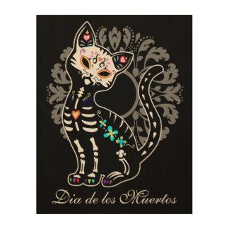 Girly Day of the Dead cute cat custom name Wood Print