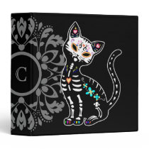 Girly Day of the Dead cute cat custom personalized Binder