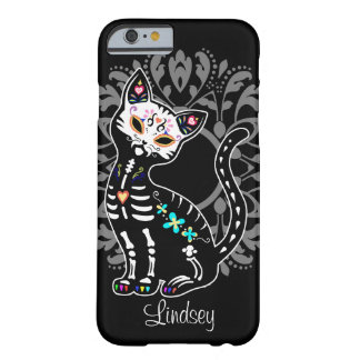 Girly Day of the Dead cute cat custom personalized Barely There iPhone 6 Case