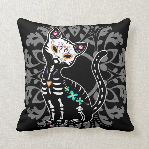 Girly Day of the Dead cute cat custom personalized Throw Pillows