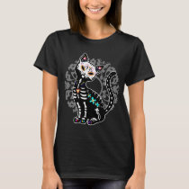 Girly Day of the Dead cute cat custom personalized T-Shirt