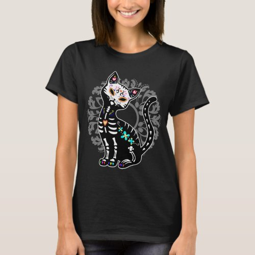 Girly Day of the Dead cute cat custom personalized T_Shirt