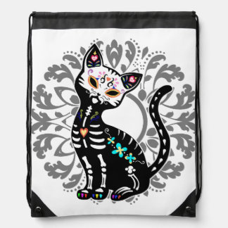 Girly Day of the Dead cute cat custom Drawstring Bags