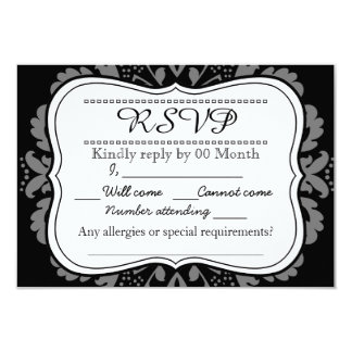 Girly Day of the Dead cute cat custom RSVP Card