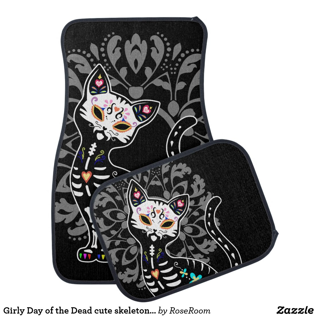 Girly Day of the Dead cute skeleton cat custom Car Floor Mat