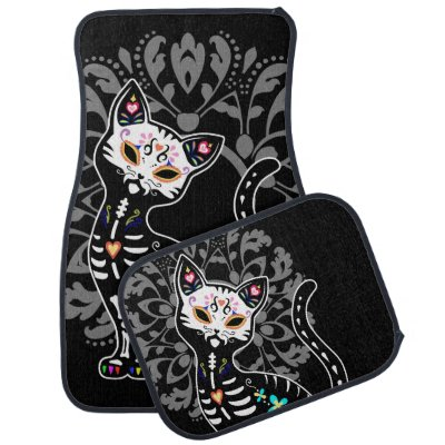 Girly Day of the Dead cute skeleton cat custom Car Floor Mat