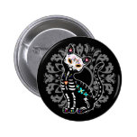 Girly Day of the Dead cute skeleton cat custom Pinback Button