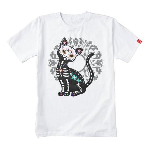 Girly day of the dead cute skeleton cat custom zazzle for Zazzle custom t shirts