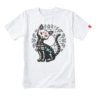 Girly Day of the Dead cute skeleton cat custom Zazzle HEART T-Shirt