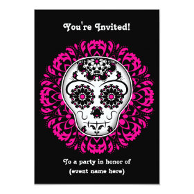 Girly day of the dead sugar skull 5x7 party 5x7 paper invitation card