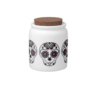 Girly day of the dead sugar skull candy jar