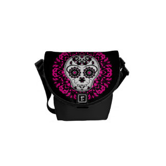 Girly day of the dead sugar skull courier bags