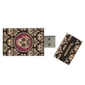 Girly Day of the Dead sugar skull damask Wood USB 2.0 Flash Drive