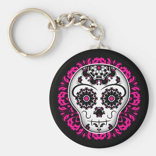 Girly day of the dead sugar skull keychain