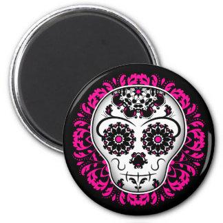 Girly day of the dead sugar skull magnet