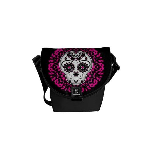 Girly day of the dead sugar skull messenger bag