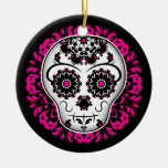 Girly day of the dead sugar skull Double-Sided ceramic round christmas ornament
