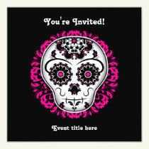 Girly day of the dead sugar skull party invitation