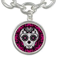 Girly Day of the Dead sugar skull pink and black Charm Bracelet