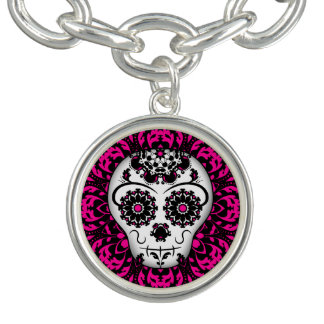 Girly Day of the Dead sugar skull pink and black Charm Bracelets
