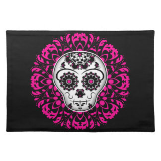 Girly day of the dead sugar skull placemat