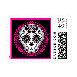 Girly day of the dead sugar skull postage