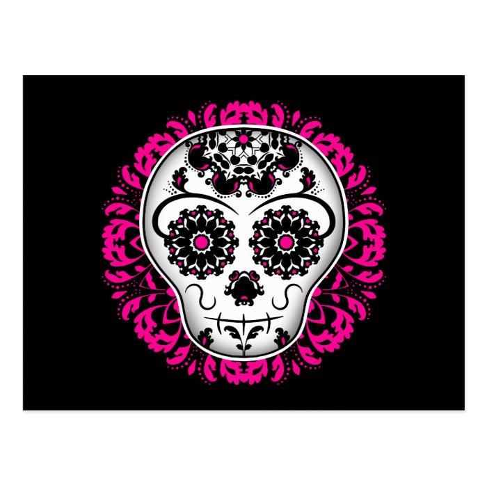 Girly day of the dead sugar skull postcard
