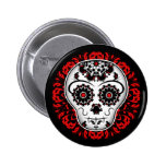 Girly day of the dead sugar skull red and black 2 inch round button
