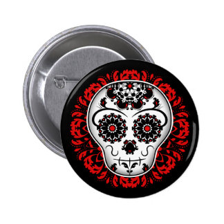Girly day of the dead sugar skull red and black button
