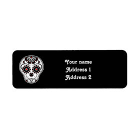 Girly day of the dead sugar skull red and black return address label