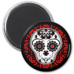 Girly day of the dead sugar skull red and black fridge magnet