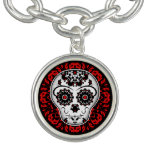 Girly Day of the Dead sugar skull red and black Charm Bracelet