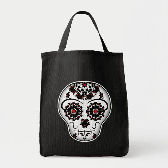 Girly day of the dead sugar skull red and black tote bag