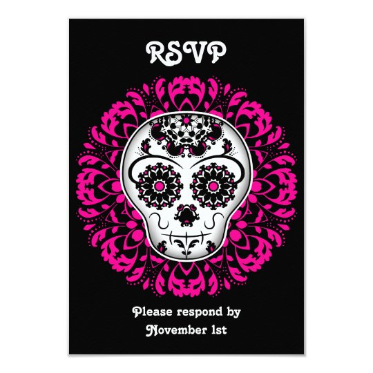 Girly day of the dead sugar skull RSVP party Card