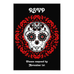 Girly day of the dead sugar skull RSVP party red Personalized Invites