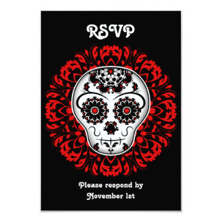Girly day of the dead sugar skull RSVP party red 3.5x5 Paper Invitation Card