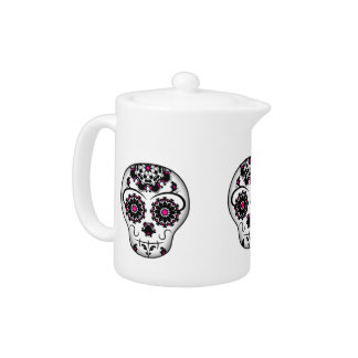 Girly day of the dead sugar skull teapot
