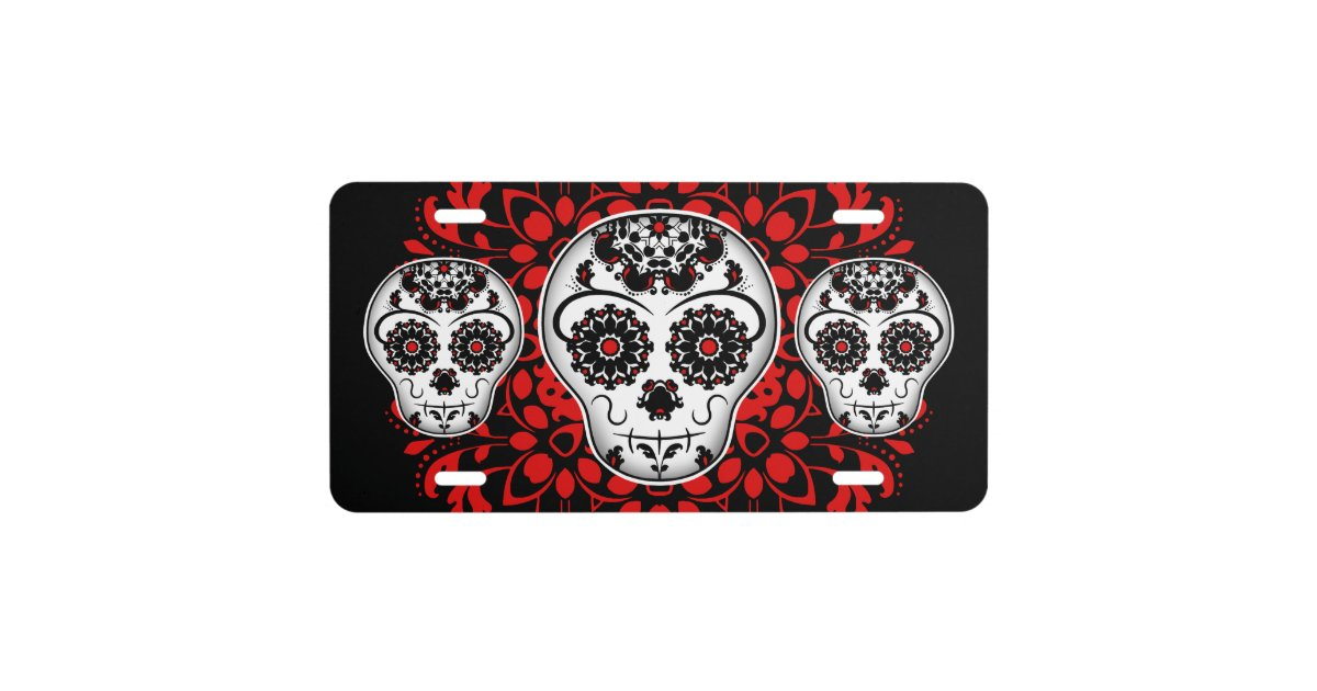 Girly day of the dead sugar skulls black and red license plate ...