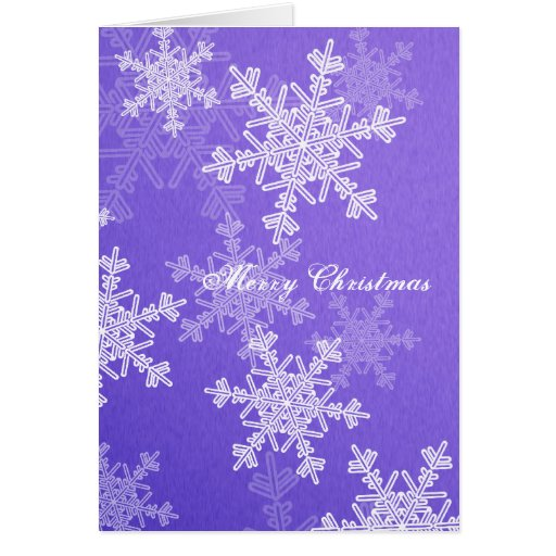 Girly deep blue and white Christmas snowflakes Card