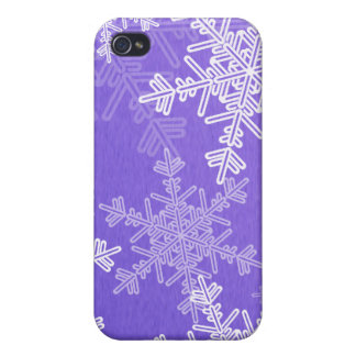 Girly deep blue and white Christmas snowflakes Cover For iPhone 4