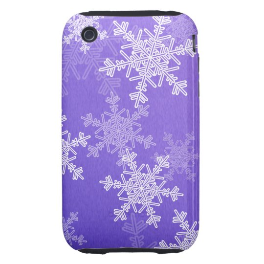 Girly deep blue and white Christmas snowflakes Tough iPhone 3 Case