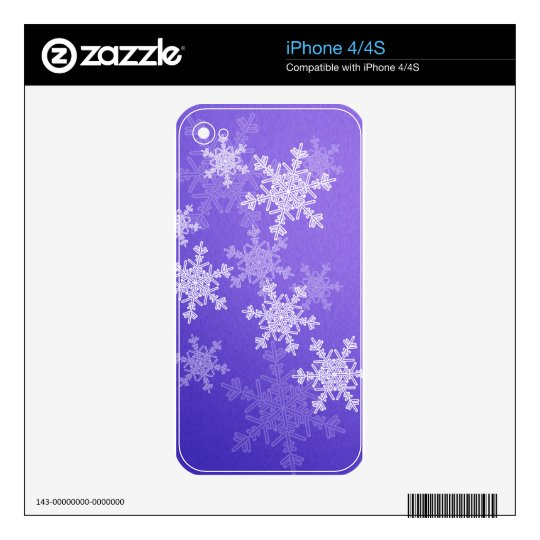 Girly deep blue Christmas Snowflakes Decals For iPhone 4