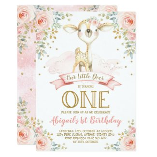 Girly Deer 1st Birthday Blush Gold Floral Woodland Invitation