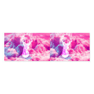 Girly Deer Head Vector Bright Pink Clouds Spac Business Card