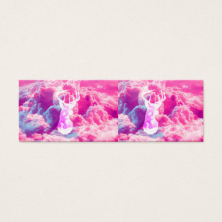 Girly Deer Head Vector Bright Pink Clouds Spac Mini Business Card