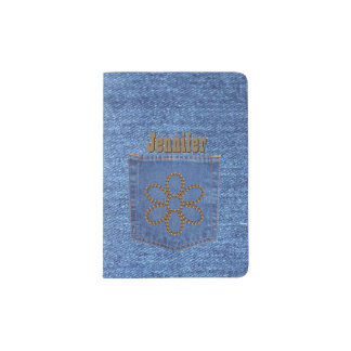 Girly Denim Look Custom Passport Holder
