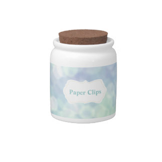 Girly Desk accessories: Blue Paperclip Jar Candy Dishes
