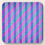 Girly Diagonal Stripes Beverage Coaster