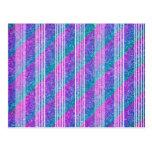 Girly Diagonal Stripes Postcard