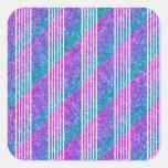 Girly Diagonal Stripes Square Sticker